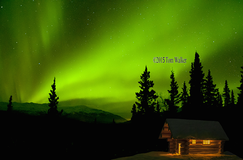 Aurora and Cabin, Alaska #8660